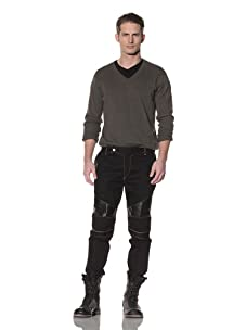 Cotte D'Armes Men's Slim Fit Biker Pant with Leather Detailing (Black with Leather)