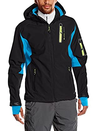 Peak Mountain Giacca Softshell Cavibyks Nero/Blu Royal 2XL