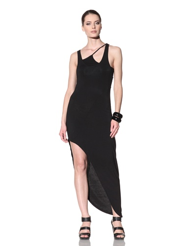 FACTORY by Erik Hart Women's Asymmetrical Jersey Maxi Dress (Onyx)
