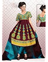 Click Fashion Printed Anarkali Unstitch Suit - Queen1006