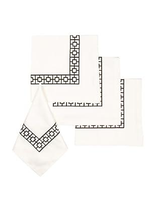 Trina Turk Set of 4 Palm Spring Blocks Embroidered Napkins (Black)