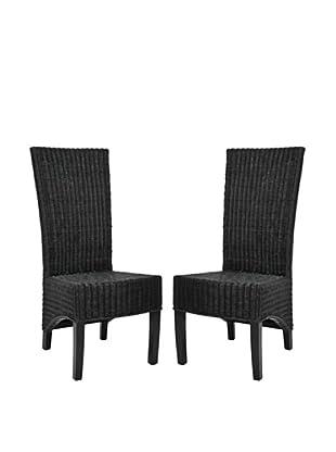 Safavieh Set of 2 Siesta Side Chairs, Black