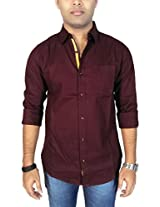 AA' Southbay Men's Red Wine Cotton Oxford Dobby Long Sleeve Solid Casual Party Shirt