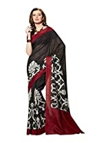 Brijraj Black White Red Bhagalpuri Silk Beautiful Printed Saree With Unstitch Blouse