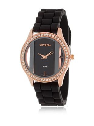 My Silver Reloj Reloj Rosado Negro Strass