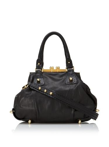 CC Skye Women's 1945 Lizard-Embossed Bullet Bag (Rugged Black)