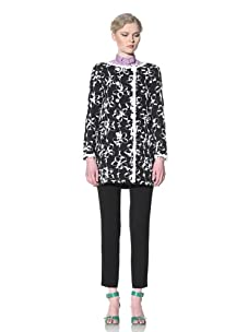 Moschino Cheap and Chic Women's Embroidered Double-Breasted Coat (Black/White Floral)