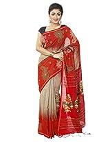 B3Fashion Elegant Bengal Handloom Beige & red colored soft & comfortable silk Partywear Saree