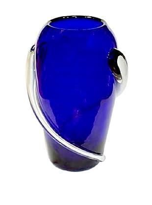 Jozefina Art Glass Geo Vase, Blue/White