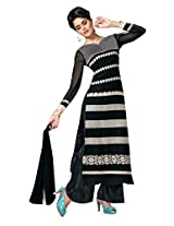 BanoRani Black Color Faux Georgette Ladies Full Sleves Semi Sitiched Salwar Suit(Plazzo)
