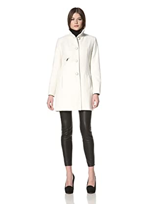 Vince Camuto Women's Single-Breasted Jacket with Stand Collar (Winter White)