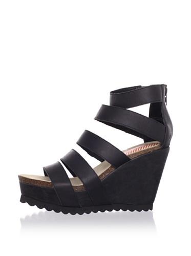 80%20 Women's Strappy Wedge Sandal (Black)