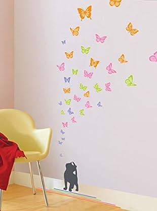 Ambiance Sticker Wandtattoo Cat And Butterfliess