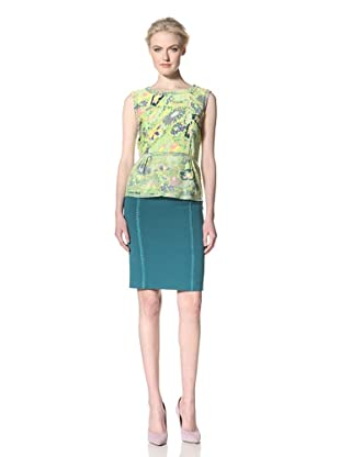 GREGORY PARKINSON Women's Velvet Bias-Cut Top (Wasabi Floral)