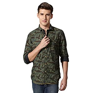 Louis Philippe Camouflage Printed Ultra Slim Shirt
