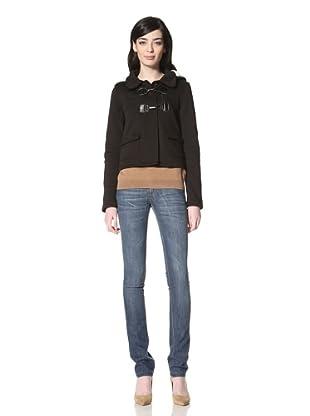 JJ Winter by JJ Basics Women's Cropped Fleece Jacket (Black)