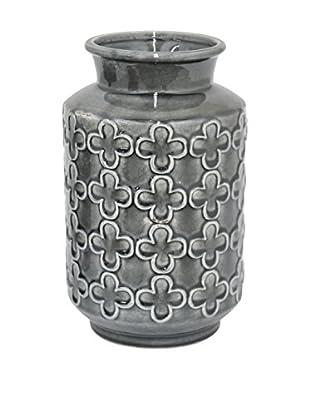 Three Hands Clover Pattern Ceramic Vase, Grey