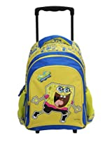 SpongeBob Yellow & Blue Trolley Bag 16 Inches - Wheeled Backpack for Kids