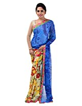 Yomeeto Wetless Fabric Blue Coloured Printed Saree