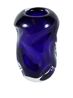 Mid-Century Art Glass Vase, Blue/Clear