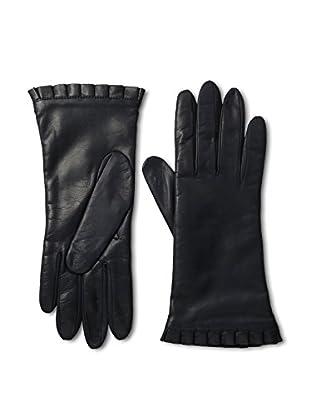 Portolano Women's Ruffle Cuff Leather Gloves (Navy)