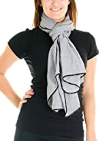 Cotton Cantina Juniors Semi Sheer Basic Scarf with Contrasting Trim (One Size, Gray)