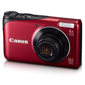 Canon PowerShot A2200 14.1MP Point-and-Shoot Digital Camera (Red) with Memory Card, Camera Case