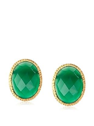 Argento Vivo Green Onyx Oval Post Earrings