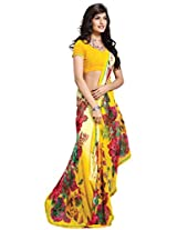 Riti Riwaz georgette yellow saree with unstiched blouse FLV315A