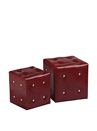 Premier Houseware  Pouf 2er Set 2403325 rot