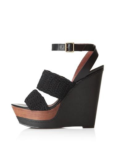Steven by Steve Madden Women's Bernidet Ankle-Strap Sandal (Black Fabric)