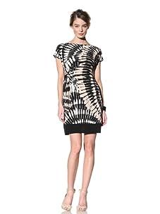 Donna Morgan Women's Side Tie Short Sleeve Dress (Black Multi)
