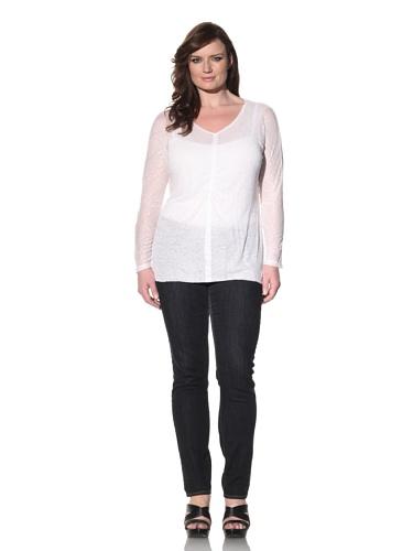 Z from Zenobia Women's Plus Gathered Long Sleeve Shirt (White)