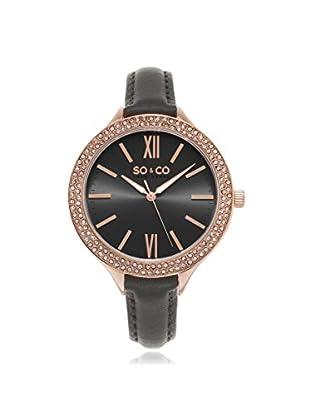 SO & CO Women's 5089.3 SoHo Grey Leather Watch