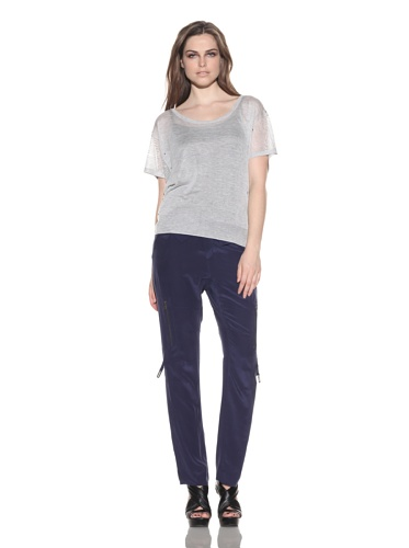 under.ligne by Doo.Ri Women's Studded Pointelle Scoopneck Top (Gray)