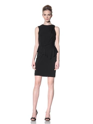 Bensoni Women's Asymmetrical Peplum Dress with Lace Back (Black)