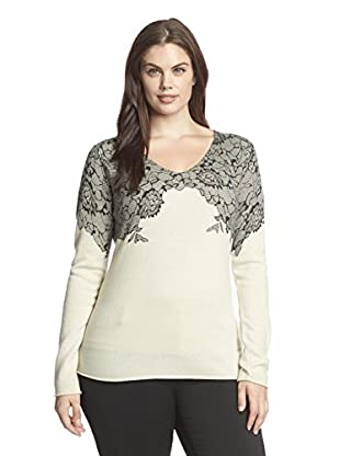 Kier & J Plus Women's Plus Cashmere Lace V-Neck Sweater (Creme/Black Lace)