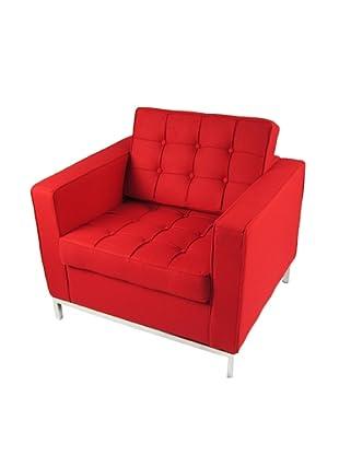 Manhattan Living Button Armchair in Wool, Red