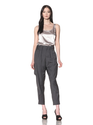 Bibhu Mohapatra Women's Narrow Pant with Soft Pleats (Charcoal)