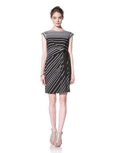 Taylor Dress Women's Side Tie Cap Sleeve Dress (Black/Grey)