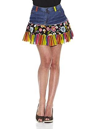 Peace & Love Mini Falda Floral Vaquera (Negro)