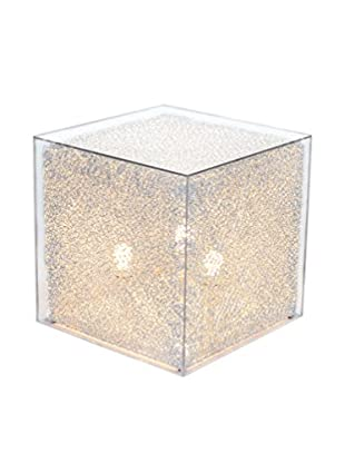 Illuminated Décor 3-Light LED Cube Stand With Acrylic Cover, Natural/Clear