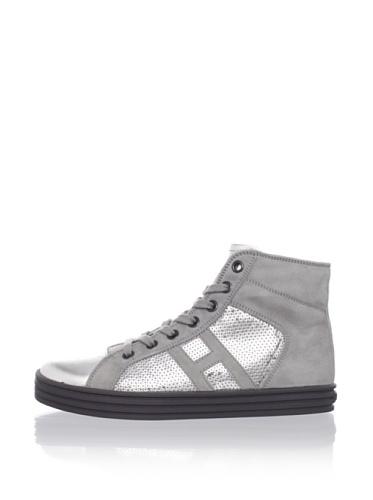 Hogan Kid's Sequin Hi-Top Sneaker (Silver)