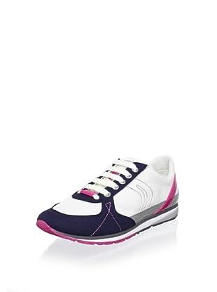 Geox Women's Wisdom Fashion Sneaker (White/Navy/Fuchsia)