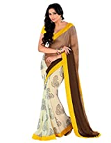 Riti Riwaz Brown & Off white Saree with Unstitched Blouse RBL117