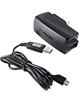 OEM Original Home Wall AC Travel Charger + USB 2.0 Data Sync Connect Transfer Charge Cable for MetroPCS Samsung Contour SCH-R250 - MetroPCS Samsung Freeform 2 SCH-R360 - MetroPCS Samsung Galaxy Indulge / Forte - Sprint Samsung Conquer 4G D600 - T-Mobile H