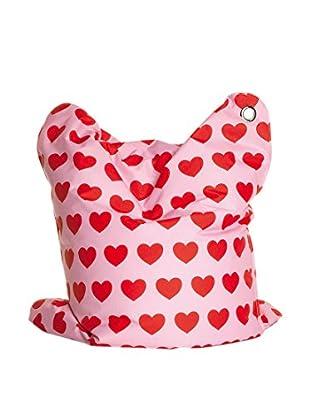 Sitting Bull Cojín Puff Niño Fashion Mini Bull Heartbeat Rosa/Rojo