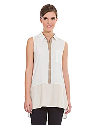 Cortefiel Camiseta Bicolor Botones (Beige / Tostado)