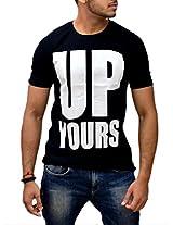 Londonhouze Men's Round Neck T-Shirt (LHW3D010XL_Black_X-Large)