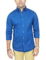 AA' Southbay Men's Pea Blue 100% Cotton Poplin Long Sleeve Solid Casual Shirt
